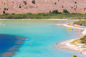 Beach in village Kavros in Crete  island, Greece. Magical turquoise waters, lagoons. Travel Background — Stock Photo