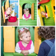 Little child girl playing in kindergarten in Montessori preschool Class. — Stock Photo #48256803