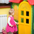 Little child girl playing in kindergarten in Montessori preschool Class. — Stock Photo #48257675
