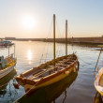 Sailboats at marina dock and bay — Stock Photo #48257839