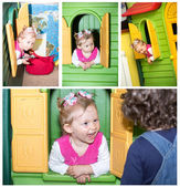 Little child girl playing in kindergarten in Montessori preschool Class. — Stock Photo