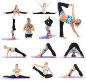 Pregnant woman make yoga — Foto Stock