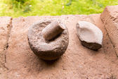 Ancient Aztec and Maya stone sculptures — Stock Photo