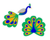 A Stylized Peacock (Front and Side View) — Stock Vector