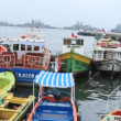 Fishing boats in harbour — Stock Video