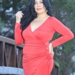 Asian model in red dress on bridge in park. — Stock Photo