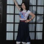 Asian model posing near a door — Stock Photo