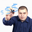 Young min blue shirt marker drawing dollar sign — Stock Photo #16762279