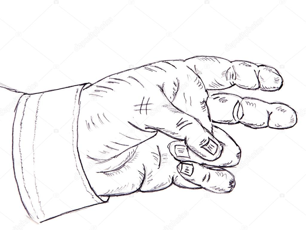 Pencil drawing. human hand on a white background — Stock Photo #19930651