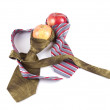 Composition of two red apples and two ties — Stock Photo