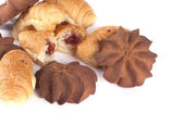 Culinary composition from cookies and rolls — Stock Photo