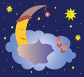 Slapen maan — Stockvector