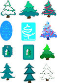 Colored firs — Stock Vector