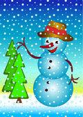 Happy snowman — Stock Vector