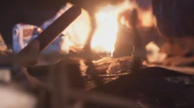 Close-up of smithy blacksmith hammering (mixed-other - artificial) — Stok video
