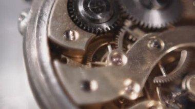 Close-up de retro de relógio da roda de engrenagem — Vídeo Stock