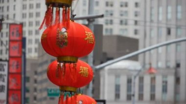 Medium shot of New York china town major city — Stock Video