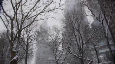 New York snowing winter — Stock Video