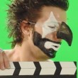 Clown with smal cinema clapboard — Stock Video