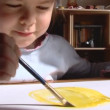 Little girl paint a water color — Stock Video