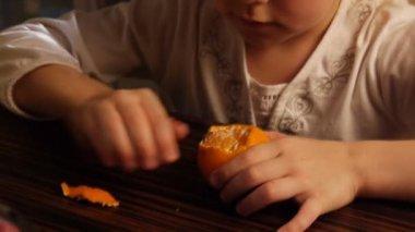 Little girl and mandarin — Stock Video