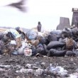 Long shot of garbage dump rubbish dumping (static - day) — Stock Video #12599202