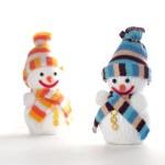Happy Snowmen on white background — Stock Photo