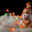 Cheerful snowman. Christmas Card — Stock Photo