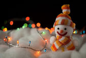 Cheerful snowman. Christmas Card — Stock Photo