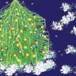 Stock Vector: Christmas tree and snowflakes
