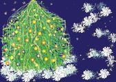 Christmas tree and snowflakes — Stock Vector