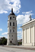 St. stanislaus katedralen och bell tower i torget i vilnius — Stock fotografie