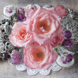 ストック写真: BOUQUET OF PINK ROSES - SQUARE