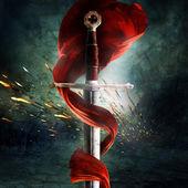 Una espada con una bandera roja — Foto de Stock