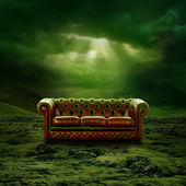 A sofa in a green moss landscape — Stock Photo