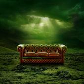 Een bank in een landschap van groene mos — Stockfoto