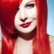 Beautiful woman portrait with glossy red hair - Stock Photo