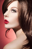 Beautiful woman face with perfect Make Up — Stock Photo
