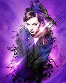 Beautiful girl flyer design — Stockfoto