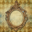 Vintage grunge Background with golden frame — Zdjęcie stockowe