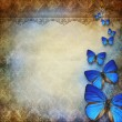 Vintage grunge background with blue butterflies — Stock Photo
