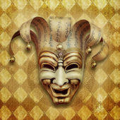 Vintage grunge Background with venetian mask — Stock Photo