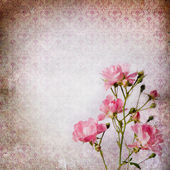 Vintage grunge background with roses — Stock Photo