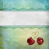 Vintage background with cherries — Stock Photo
