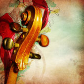 Vintage music background with contrabass — Stock Photo