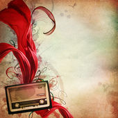 Vintage music background with old radio — Stock Photo