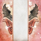 Vintage shabby chic background with dragon wings — Stock Photo