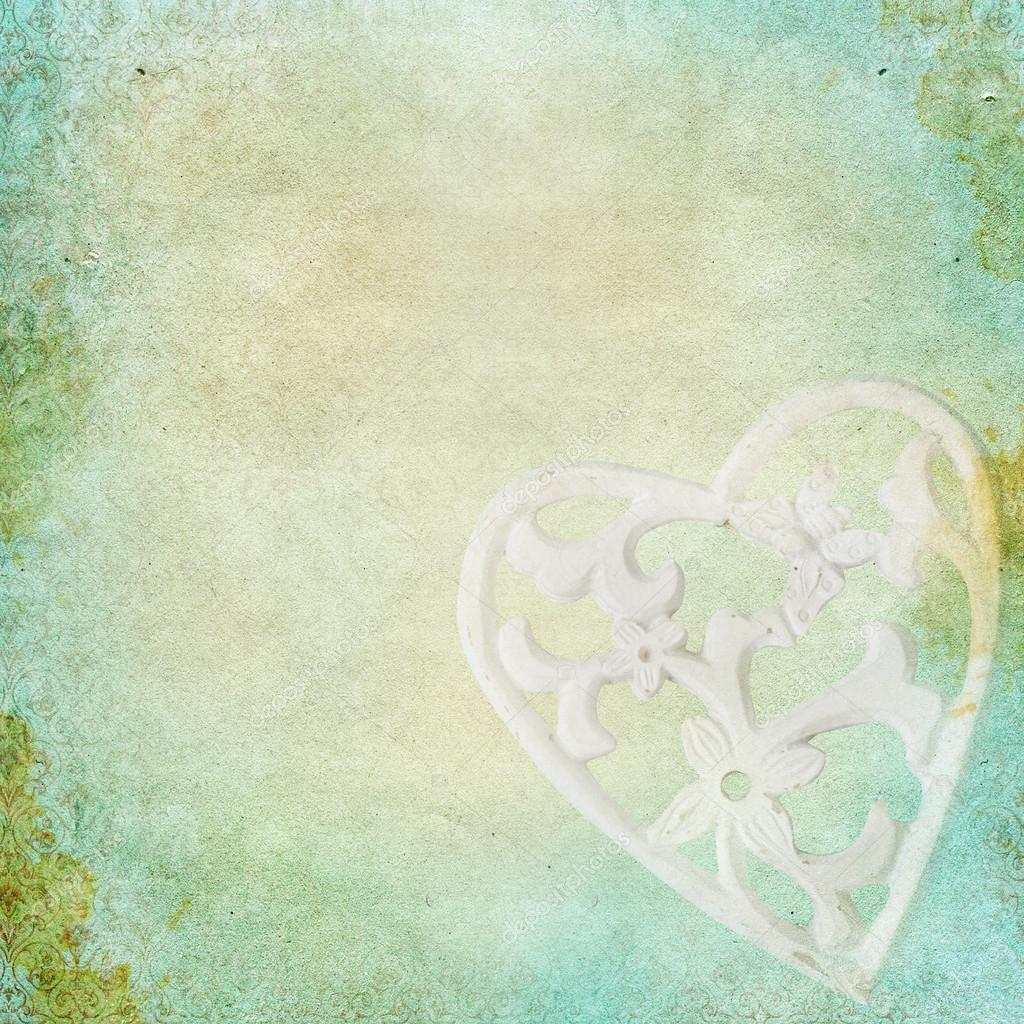 Vintage shabby chic background with rose heart — stock photo ...