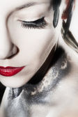 Beautiful woman face with fancy Make Up — Stock Photo