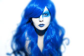 Beautiful woman with blue Hair and Make Up — Stock Photo